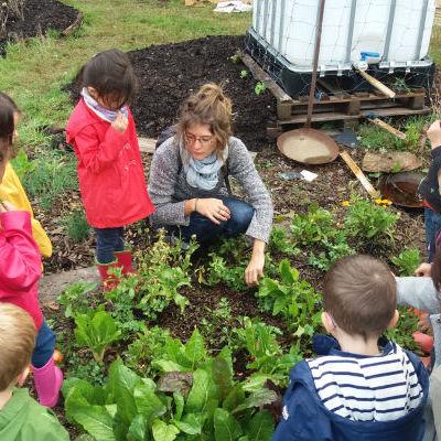 Éveil des sens et plantation de fraisiers dans le jardin mandala avec 15 enfants de maternelle